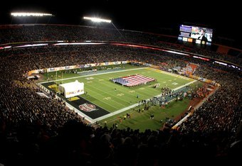 MIAMI GARDENS, FL - JANUARY 05:  A general view of the performance of the National Anthem prior to the Iowa Hawkeyes playing against the Georgia Tech Yellow Jackets during the FedEx Orange Bowl at Land Shark Stadium on January 5, 2010 in Miami Gardens, Fl
