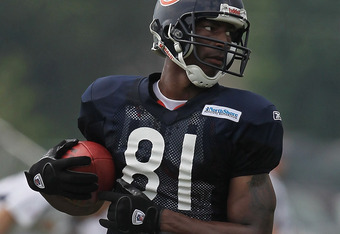 BOURBONNAIS, IL - AUGUST 06:  Sam Hurd #81 of the Chicago Bears works out during a summer training camp practice at Olivet Nazarene University on August 6, 2011 in Bourbonnais, Illinois.  (Photo by Jonathan Daniel/Getty Images)