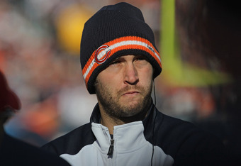 CHICAGO, IL - DECEMBER 18:  Jay Cutler #6 of the Chicago Bears stands on the sidelines during a game against the Seattle Seahawks at Soldier Field on December18, 2011 in Chicago, Illinois. The Seahawks defeated the Bears 38-14.  (Photo by Jonathan Daniel/