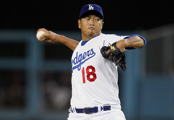 LOS ANGELES, CA - SEPTEMBER 22:  Hiroki Kuroda #18 of the Los Angeles Dodgers pitches against the San Francisco Giants in the first inning at Dodger Stadium on September 22, 2011 in Los Angeles, California.  (Photo by Jeff Gross/Getty Images)