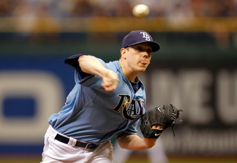 ST PETERSBURG, FL - OCTOBER 04:  Pitcher Jeremy Hellickson #58 of the Tampa Bay Rays pitches in the first inning against the Texas Rangers in Game Four of the American League Division Series at Tropicana Field on October 4, 2011 in St Petersburg, Florida.