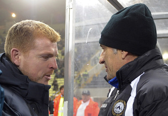 Celtic boss Neil Lennon(left)
