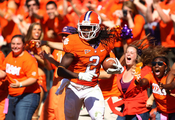 CLEMSON, SC - OCTOBER 22:  Sammy Watkins #2 of the Clemson Tigers celebrates a second half touchdown against the North Carolina Tar Heels during their game at Memorial Stadium on October 22, 2011 in Clemson, South Carolina.  (Photo by Scott Halleran/Getty