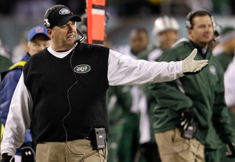 PHILADELPHIA, PA - DECEMBER 18: Head coach Rex Ryan of the New York Jets reacts after the Philadelphia Eagles scored during the second half at Lincoln Financial Field on December 18, 2011 in Philadelphia, Pennsylvania.  (Photo by Rob Carr/Getty Images)