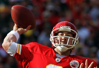 KANSAS CITY, MO - DECEMBER 18:  Quarterback Kyle Orton #8 of the Kansas City Chiefs passes during the game against the Green Bay Packers on December 18, 2011 at Arrowhead Stadium in Kansas City, Missouri.  (Photo by Jamie Squire/Getty Images)