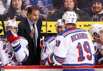 GLENDALE, AZ - DECEMBER 17:  Head coach John Tortorella of the New York Rangers talks with Brad Richards #19 during the NHL game against the Phoenix Coyotes at Jobing.com Arena on December 17, 2011 in Glendale, Arizona. The Rangers defeated the Coyotes 3-