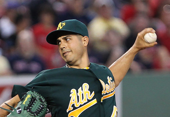 BOSTON, MA - AUGUST 26:  Gio Gonzalez #47 of the Oakland Athletics throws the Boston Red Sox at Fenway Park August 26, 2011 in Boston, Massachusetts. (Photo by Jim Rogash/Getty Images)