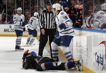 John Tavares after Cross-Check by Joffrey Lupul