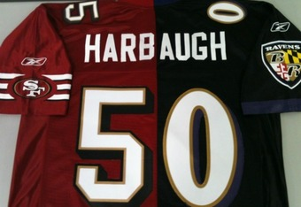 """Mud-blood"" jerseys are disgusting...unless you have two kids who play/coach for different teams, like John Harbaugh of the Baltimore Ravens and Jim Harbaugh of the San Francisco 49ers"
