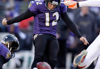 BALTIMORE, MD - DECEMBER 24:  Shayne Graham #12 of the Baltimore Ravens kicks a field goal against the Cleveland Browns during the first half at M&T Bank Stadium on December 24, 2011 in Baltimore, Maryland.  (Photo by Rob Carr/Getty Images)