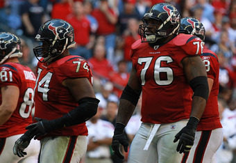 HOUSTON, TX - OCTOBER 30:   Duane Brown #76 of the Houston Texans at Reliant Stadium on October 30, 2011 in Houston, Texas.  (Photo by Ronald Martinez/Getty Images)