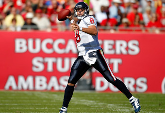 TAMPA, FL - NOVEMBER 13:  Quarterback Matt Schaub #8 of the Houston Texans throws a pass against the Tampa Bay Buccaneers during the game at Raymond James Stadium on November 13, 2011 in Tampa, Florida.  (Photo by J. Meric/Getty Images)