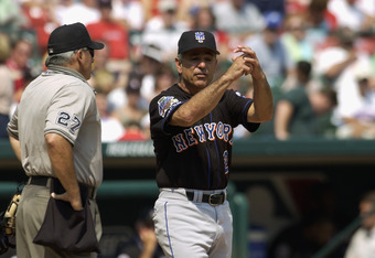ST. LOUIS - AUGUST 10:  Manager Bobby Valentine of the New York Mets argues with home plate umpire Larry Vanover #27 during the MLB game against the St. Louis Cardinals at Busch Stadium on August 10, 2002 in St. Louis, Missouri.  The Cardinals won 5-4. (P