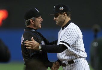 21 Oct 2000: Manager Bobby Valentine of the New York Mets shakes hands with manager Joe Torre of the New York Yankees before game one of the World Series at Yankee Stadium in the Bronx, New York. <POOL IMAGE> <DIGITAL IMAGE> Mandatory Credit: Allsport USA