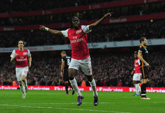 LONDON, ENGLAND - DECEMBER 27:  Gervinho of Arsenal celebrates after scoring during the Barclays Premier League match between Arsenal and Wolverhampton Wanderers at the Emirates Stadium on December 27, 2011 in London, England.  (Photo by Shaun Botterill/G