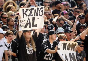 OAKLAND, CA - OCTOBER 16:  Fans hold up signs in honor of Oakland Raiders owner Al Davis before the Raiders game against the Cleveland Browns at O.co Coliseum on October 16, 2011 in Oakland, California.  (Photo by Ezra Shaw/Getty Images)