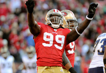 SAN FRANCISCO, CA - DECEMBER 04:  Aldon Smith celebrates after sacking quarterback A.J. Feeley #4 of the St Louis Rams at Candlestick Park on December 4, 2011 in San Francisco, California. The 49ers won the game 26-0. (Photo by Thearon W. Henderson/Getty