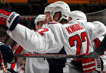 PHILADELPHIA, PA - MARCH 22:  Mike Knuble #22 of the Washington Capitals celebrates his goal against the Philadelphia Flyers during the first period of an NHL hockey game at the Wells Fargo Center on March 22, 2011 in Philadelphia, Pennsylvania.  (Photo b