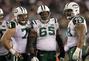 The Jets offensive line has struggled protecting Mark Sanchez all year long.