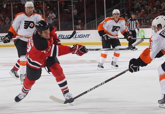 NEWARK, NJ - SEPTEMBER 28:  David Clarkson #23 of the New Jersey Devils skates against the Philadelphia Flyers at the Prudential Center on September 28, 2010 in Newark, New Jersey.  (Photo by Bruce Bennett/Getty Images)