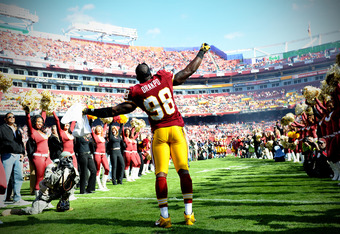 LANDOVER, MD - NOVEMBER 6: Linebacker Brian Orakpo #98 of the Washington Redskins is introduced against the San Francisco 49ers at FedExField on November 6, 2011 in Landover, Maryland. The San Francisco 49ers won, 19-11. (Photo by Patrick Smith/Getty Imag