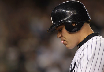 Russell Martin, after popping up with the bases loaded in 8th inning of Game 5 of the 2011 ALDS