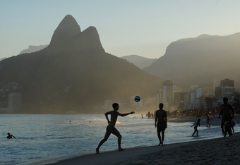 RIO DE JANEIRO, BRAZIL - JULY 28: Men play football on Ipanema Beach ahead of the Preliminary Draw of the 2014 FIFA World Cup on July 28, 2011 in Rio de Janeiro, Brazil.  (Photo by Michael Regan/Getty Images)