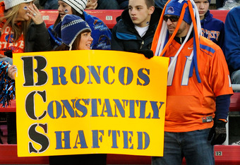LAS VEGAS, NV - DECEMBER 22:  Fans of the Boise State Broncos hold a sign before the team played the Arizona State Sun Devils in the MAACO Bowl Las Vegas at Sam Boyd Stadium December 22, 2011 in Las Vegas, Nevada. Boise State won 56-24.  (Photo by Ethan M