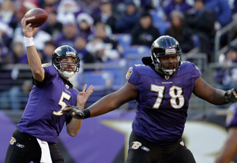 BALTIMORE, MD - DECEMBER 24:  Ramon Harewood #78 blocks as Joe Flacco #5 of the Baltimore Ravens throws a pass against the Cleveland Browns during the second half at M&T Bank Stadium on December 24, 2011 in Baltimore, Maryland.  (Photo by Rob Carr/Getty I