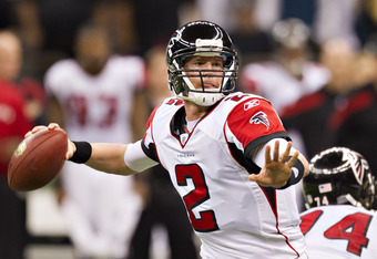 NEW ORLEANS, LA - DECEMBER 26:   Matt Ryan #2 of the Atlanta Falcons throws a pass against the New Orleans Saints at Mercedes-Benz Superdome on December 26, 2011 in New Orleans, Louisiana.  The Saints defeated the Falcons 45-16.  (Photo by Wesley Hitt/Get