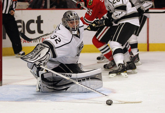 Jonathan Quick did his part in beating the Blackhawks, making 38 saves for his fifth shutout of the season.