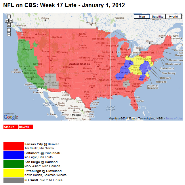 Nfl Tv Schedule Week 17 Coverage Maps For All Cbs And Fox