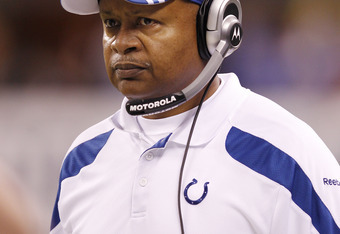 INDIANAPOLIS, IN - DECEMBER 22: Indianapolis Colts head coach Jim Caldwell looks on against the Houston Texans at Lucas Oil Stadium on December 22, 2011 in Indianapolis, Indiana. The Colts defeated the Texans 19-16. (Photo by Joe Robbins/Getty Images)