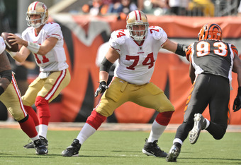 CINCINNATI, OH - SEPTEMBER 25:  Joe Staley #74 of the San Francisco 49ers blocks against the Cincinnati Bengals at Paul Brown Stadium on September 25, 2011 in Cincinnati, Ohio.  (Photo by Jamie Sabau/Getty Images)
