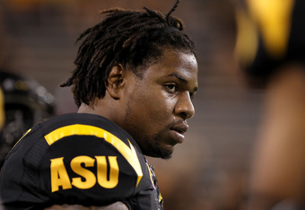 TEMPE, AZ - SEPTEMBER 09:  Linebacker Vontaze Burfict #7 of the Arizona State Sun Devils warms up before the college football game against the Missouri Tigers at Sun Devil Stadium on September 9, 2011 in Tempe, Arizona. The Sun Devils defeated the Tigers