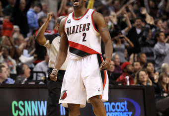 PORTLAND, OR - JANUARY 9: Wesley Matthews #2 of the Portland Trail Blazers celebrates a three point shot against  the Miami Heat during a game on January 9, 2011 at the Rose Garden Arena in Portland, Oregon. NOTE TO USER: User expressly acknowledges and a