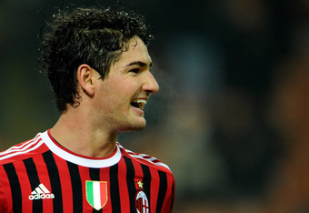 MILAN, ITALY - NOVEMBER 27:  Pato of AC Milan celebrates scoring the third goal during the Serie A match between AC Milan v AC Chievo Verona at Stadio Giuseppe Meazza on November 27, 2011 in Milan, Italy.  (Photo by Claudio Villa/Getty Images)