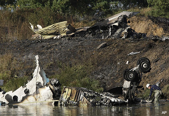The Lokomotiv plane crash. Photo Credit: Yahoo! Sports Puck Daddy Blog.