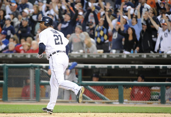 DETROIT, MI - OCTOBER 13:  Delmon Young #21 of the Detroit Tigers watches his two-run home run in the sixth inning of Game Five of the American League Championship Series against the Texas Rangers at Comerica Park on October 13, 2011 in Detroit, Michigan.