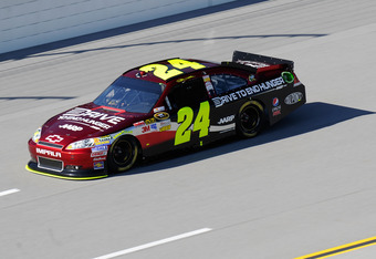 TALLADEGA, AL - OCTOBER 22:  Jeff Gordon, driver of the #24 Drive to End Hunger Chevrolet, qualifies for the NASCAR Sprint Cup Series Good Sam Club 500 at Talladega Superspeedway on October 22, 2011 in Talladega, Alabama.  (Photo by John Harrelson/Getty I