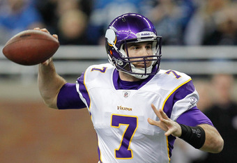 DETROIT, MI - DECEMBER 11:  Christian Ponder #7 of the Minnesota Vikings throws a first quarter pass while playing the Detroit Lions at Ford Field on December 11, 2011 in Detroit, Michigan.  (Photo by Gregory Shamus/Getty Images)