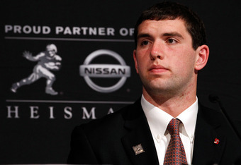 NEW YORK, NY - DECEMBER 10:  Heisman Trophy finalist Andrew Luck of the Stanford University Cardinal speaks during a press conference at The New York Marriott Marquis on December 10, 2011 in New York City.  (Photo by Jeff Zelevansky/Getty Images)