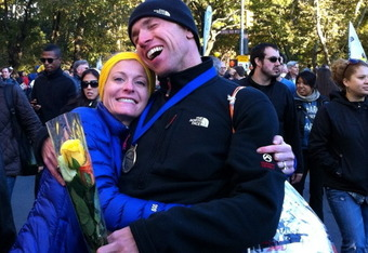 Jenny Palmanshofer's husband, Christoph, is overjoyed after the couple completed the NYC marathon this past November. The event was Jenny's second and Christoph's first NYC event.  Both will be members of Team Hoyt's marathon squad this April in Boston.