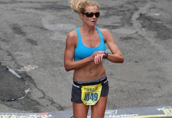 Palmanshofer as she finishes the Seattle Marathon, where she posted a personal best of 3:25.