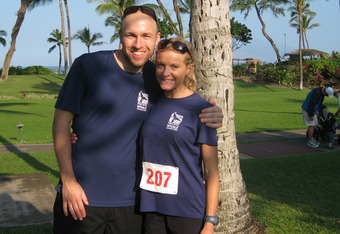 Jenny and Christoph in Maui. The first race the couple ever ran together. They will be joining eachother again this April as part of Team Hoyt's historic 30th Boston Marathon event.