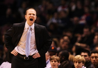 EAST RUTHERFORD, NJ - FEBRUARY 10:  Head coach Lawrence Frank of the New Jersey Nets shouts instructions to his players during their game against the Dallas Mavericks at the Izod Center February 10, 2008 in East Rutherford, New Jersey.  NOTE TO USER: User