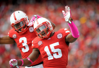 LINCOLN, NE - OCTOBER 29: Cornerback Alfonzo Dennard #15 and safety Daimion Stafford #3 of the Nebraska Cornhuskers during their game at Memorial Stadium October 29, 2011 in Lincoln, Nebraska. Nebraska defeated Michigan State 24-3. (Photo by Eric Francis/