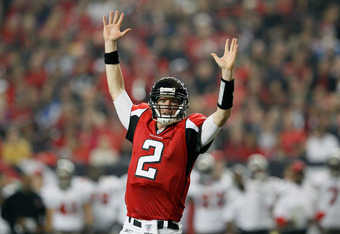 ATLANTA, GA - JANUARY 01:  Matt Ryan #2 of the Atlanta Falcons reacts during a third down rush he thought was a touchdown against the Tampa Bay Buccaneers at Georgia Dome on January 1, 2012 in Atlanta, Georgia.  (Photo by Kevin C. Cox/Getty Images)