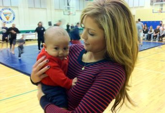 Brittney spent a lot of time holding babies while on tour