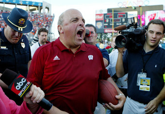 ORLANDO, FL - JANUARY 2:  Head coach Barry Alvarez of the Wisconsin Badgers yells out to the media after defeating the Auburn Tigers in the Capital One Bowl at the Florida Citrus Bowl on January 2, 2006 in Orlando, Florida. Wisconsin defeated Auburn 24-10
